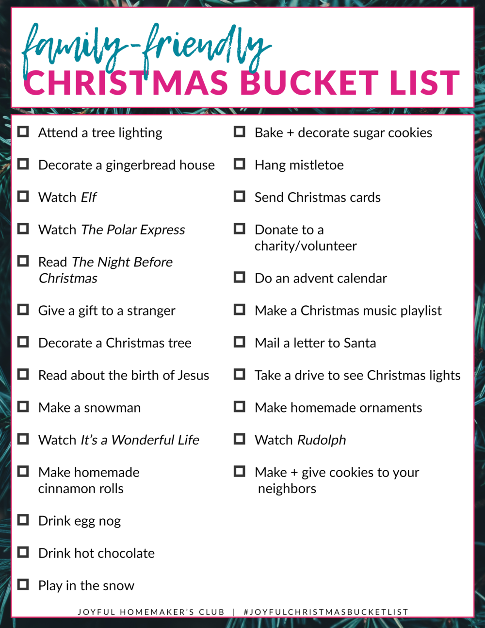 Try out the #Christmas #BucketList #Challenge! I love all 25 activities on the list -- they are perfect for bringing JOY to the Christmas season!