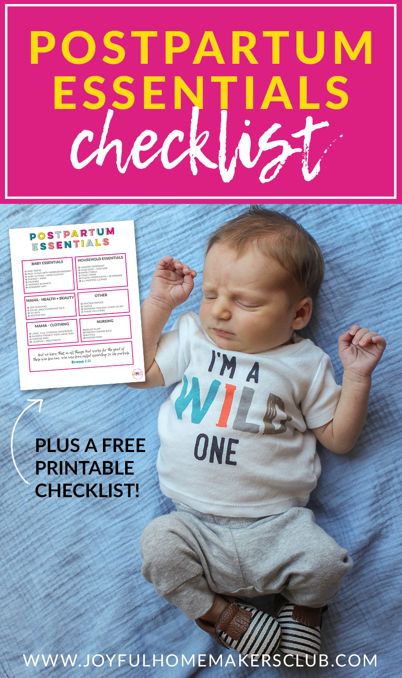 Getting ready for #baby? Grab your #free #printable #postpartum essentials #checklist and be ready to tackle motherhood as soon as you get home from the hospital.
