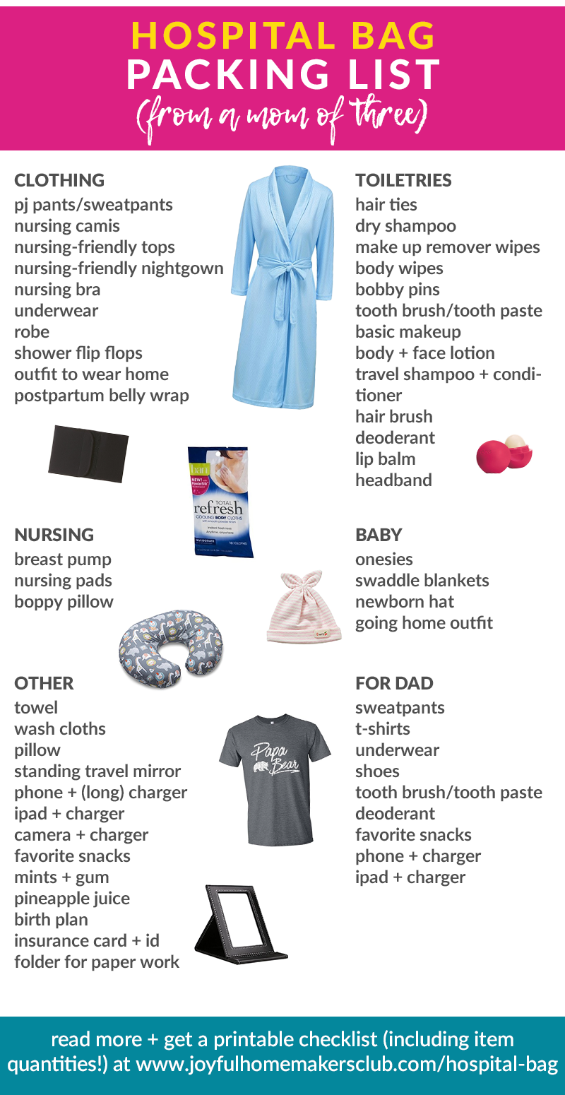 A great #checklist of items for your #hospital #bag, put together by a 3x mama! Click through for #printable versions!