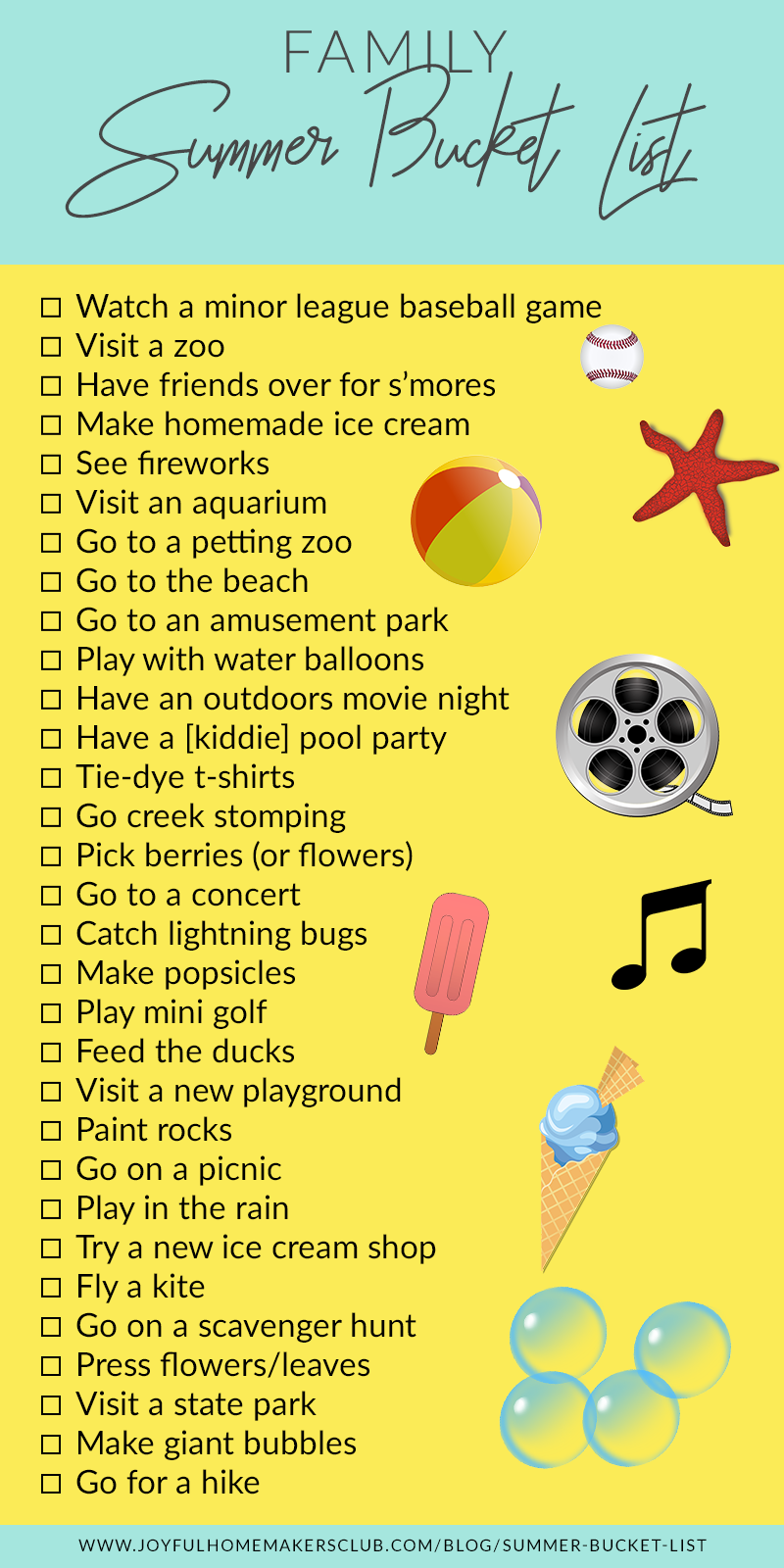 A fun summer bucket list to do with the family this summer! #family #kidfriendly #activities #kidactivities #momlife #summer #bucketlist