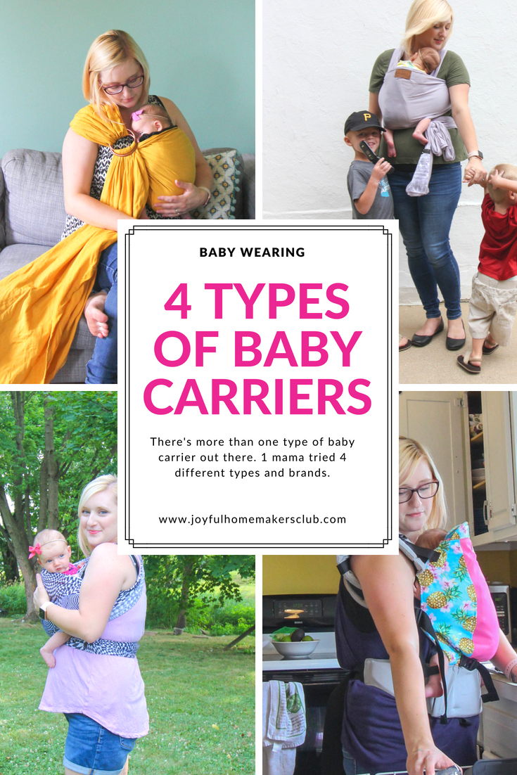 #sponsored All about #babywearing and a review of 4 different types of #baby #carriers  www.joyfulhomemakersclub.com/blog/babywearing