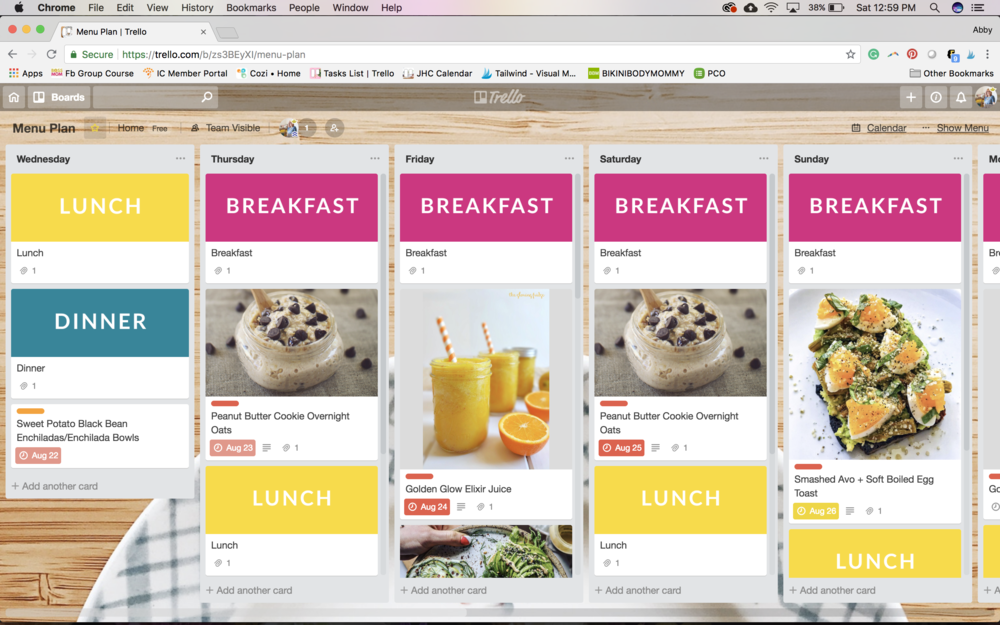 #menuplanning on #Trello