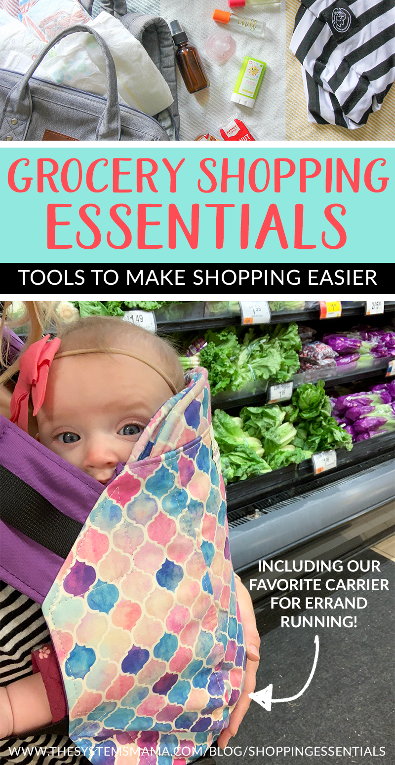 our favorite tools for making grocery shopping a little bit easier  www.thesystemsmama.com/blog/shoppingessentials  #groceryshopping #babywearing #kinderpack #groceries