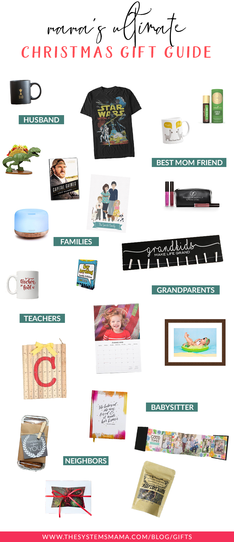 Christmas gift ideas for your husband, best mom friend, family friends, teachers, babysitter, and neighbors! #giftguide #christmas #giftideas