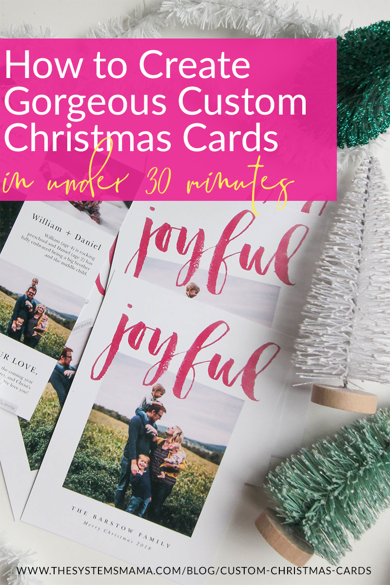 Create custom, affordable, and gorgeous Christmas cards in 30 minutes OR LESS! Over 500 cards to choose from on Basic Invite  www.thesystemsmama.com/blog/custom-christmas-cards  #custom #christmascards #christmas