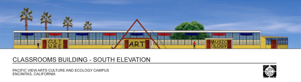 TRANSFORMATION                                              Conceptual rendering of rehabilitated Pacific View School by San Diego architect Drew Hubbell.