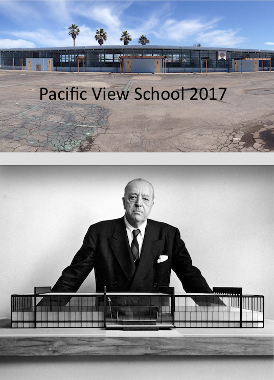 "Legendary architect Mies van der Rohe presenting his ""International Style"" noted for open interiors, glass facades and sleek minimalist lines."