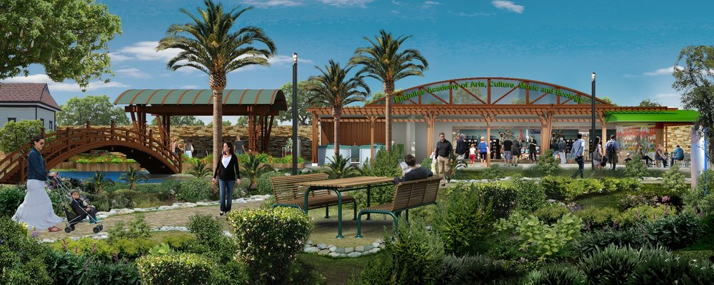 Concept Drawing, Interior Courtyard and Gardens,of Future Pacific View Academy Of Arts, Culture and Ecology (Courtesy of Tom Grimm).
