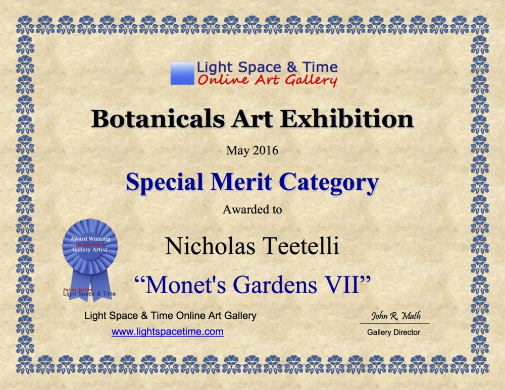 2016-05 LS&T Art Exhibition- Botanicals - Special Merit - Monet's Gardens VII.png