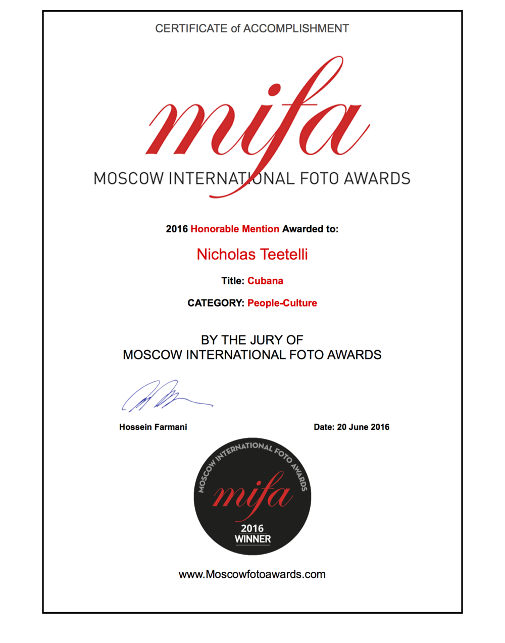 2016-06 Moscow International Foto Awards - MIFA 2016 - Cubana Series, Honorable Mention.png