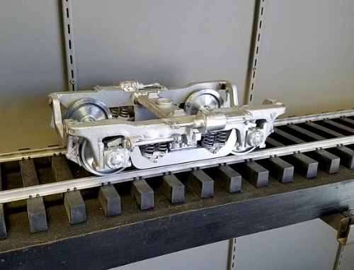 "Available now is our 1"" scale 41-N truck for a  new line of passenger cars in the works.. 36"" scale wheels with needle bearing metal journal boxes and fully equalized suspension...750.00/PR."