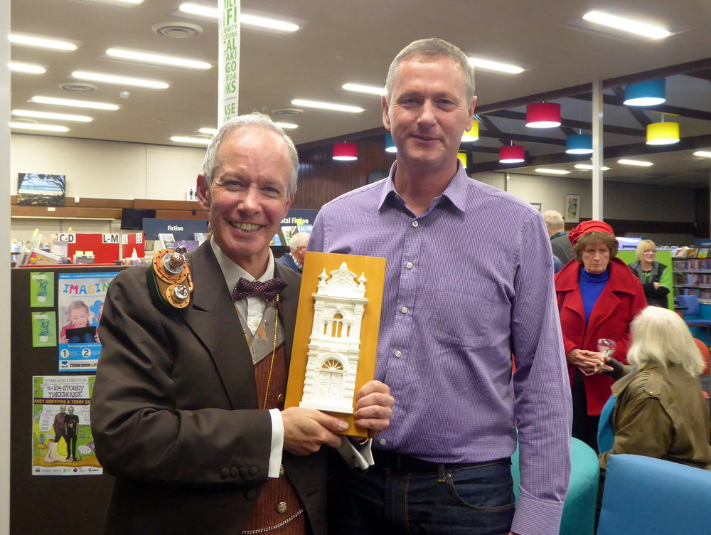 With the mayor of Waitaki, Gary Kircher, and the gift that's heading for Devizes