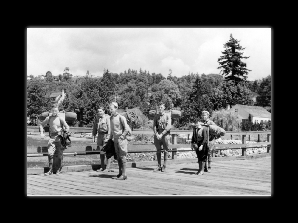 Boy scout hike, Vashon Island - Lou, Jim (3rd from left) and Barney, with other scouts.  Whittaker Family Collection