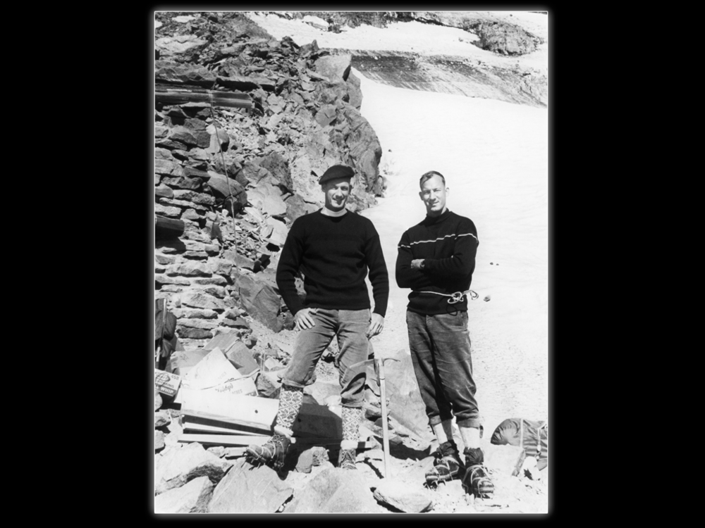 Twin guides: Jim and Lou at Camp Muir on Mt. Rainier.  Whittaker Family Collection