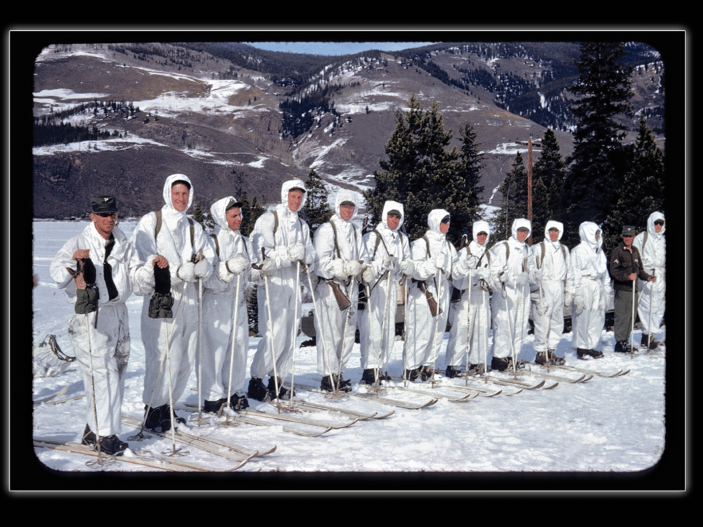 Camp Hale Ski Troopers, Tennessee Pass, CO. Jim is second from left and Lou fourth.  Whittaker Family Collection