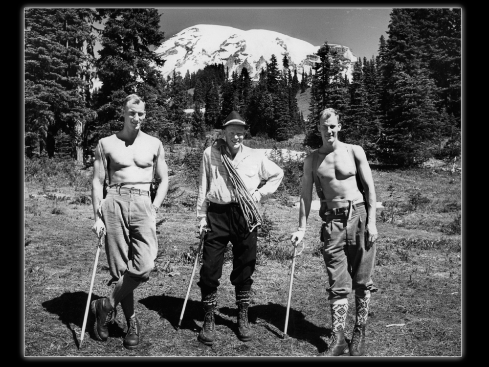 Lou, John Day and Jim on Mt. Rainier, 1959.  Whittaker family collection