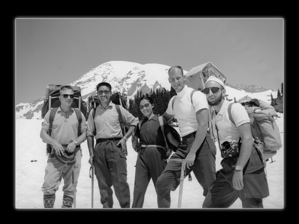 "On Mt. Rainier: (L to R) Lute Jerstad, Tenzing Norgay, Tenzing's ""traveling wife"", Jim, Tom Hornbein, about 1965.  Whittaker Family Collection"