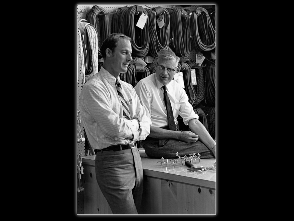 Jim with REI founder Lloyd Anderson at the old Seattle REI store, about 1964.  Frank Denman Photo