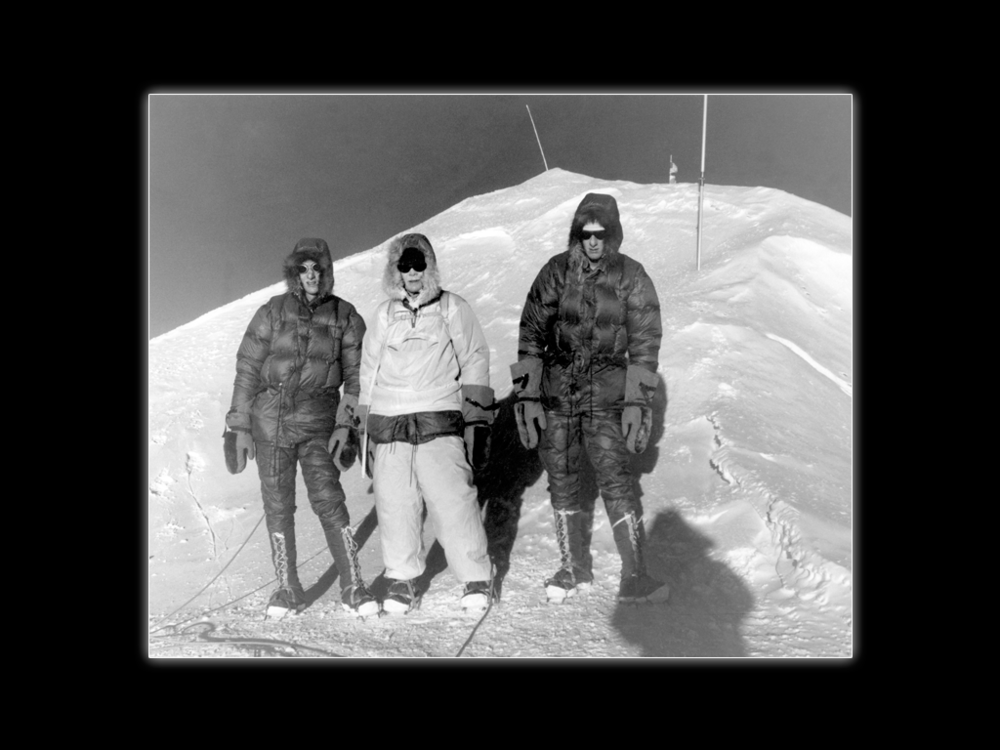 Summit of Mt. McKinley, 1960. (L to R) Lou, John Day, Jim.  Pete Schoening Photo