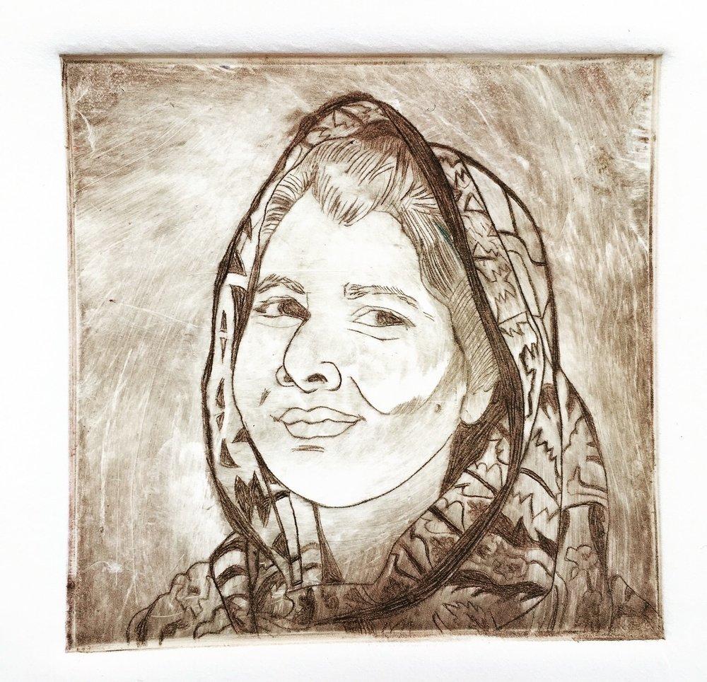 """Her-Story"" Malala Yousafzai   Drypoint, 3x3"""