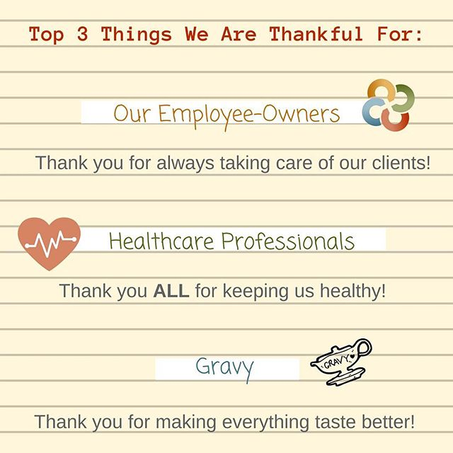To our employee-owners, our clients, and all those working in the healthcare industry...Thank You!  We are proud to have the privilege to work with those working hard to keep us all healthy and healed! #thanksgiving #WeAreHRG