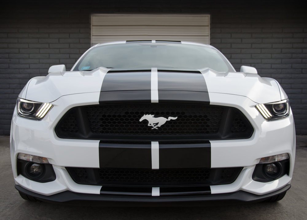 avery sw 900 gloss black racing stripes on a ford mustang