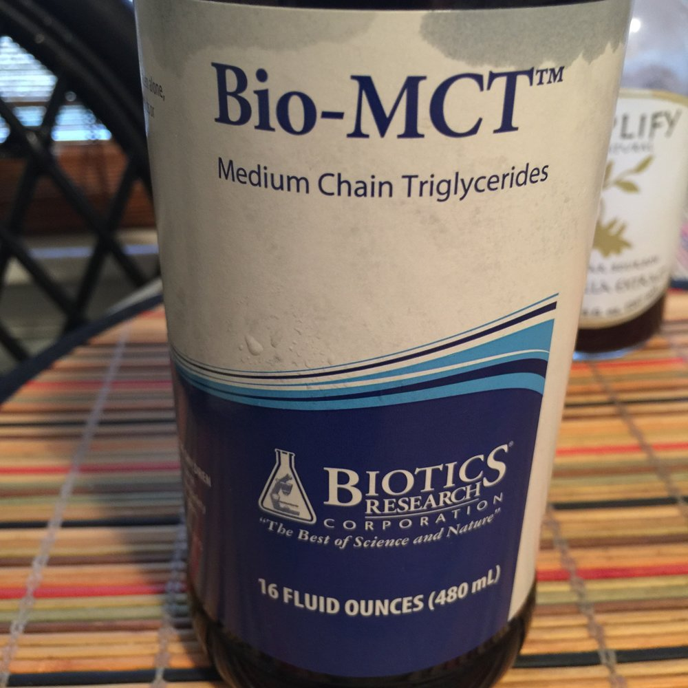 Biotics Research MCT Oil MCT stands for Medium Chain Triglycerides it is the active ingrdients in Coconut oil that can really help brain cognition and is a great from of energy this one is 100% pure Caprylic Acid less quality MCT oil usually have less then 20% Caprylic Acid . ( always read the label and ask questions)  You can pick some up at Bio-MCT