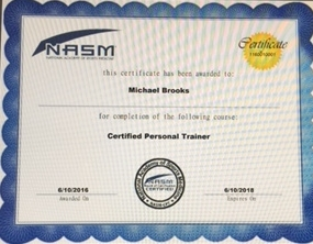 NASM:  ( National Assoc of Sports Medicine) Certified Personal Trainer