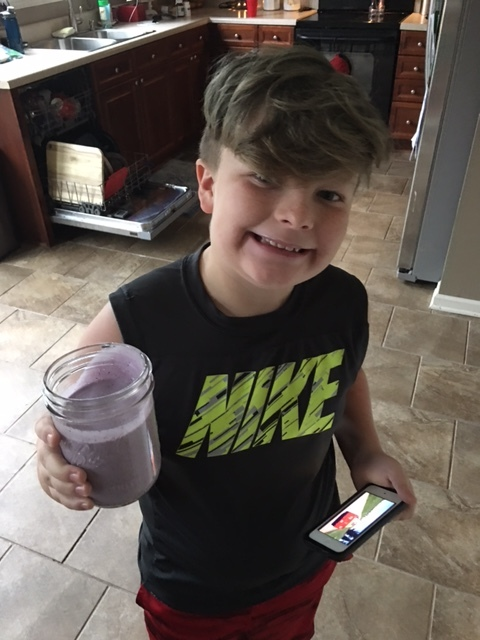 Our youngest member of the 360PT 30 Day Challenge enjoying his Blue Berry Protein Shake . Kids can do the challenge also . With kids we focus on eating quality foods and learning healthy habits like taking their daily vitamins , getting Daily exercise and do not cut carbs and calories ( unless they are over weight childrens diabetes is on the rise).