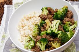 Ground beef , broccoli a cauliflower rice