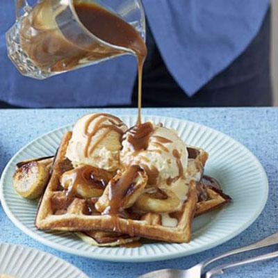 Banana & Salted Caramel Waffles - Cook & Bakeware