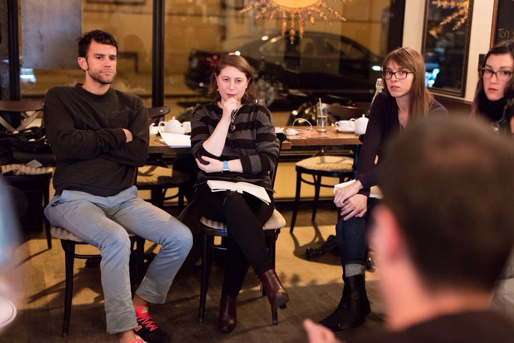 Jaclyn during a table reading of her script one year before she applied to the FS2P .  Photo credit: Vladimir Weinstein