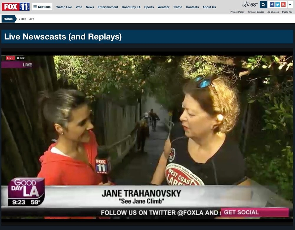 """See Jane Climb"" was featured on Good Day LA on January 11th, National Take the Stairs Day."
