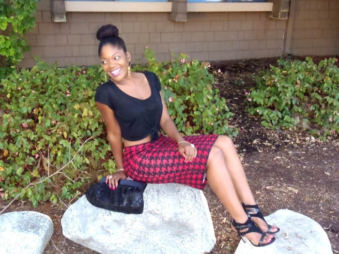 red and black houndstooth, pencil skirt