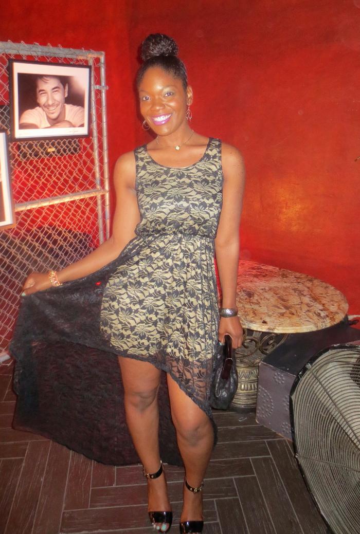 Lace hi low dress