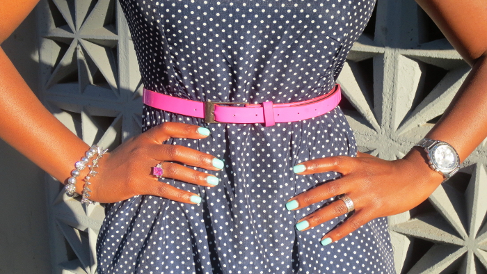 pink belt, pink ring, pop of color, bright accessories
