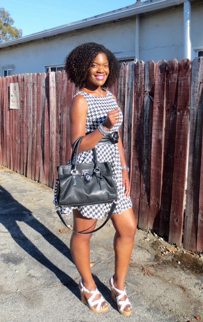 asos houndstooth dress, michael kors bag, white wedges