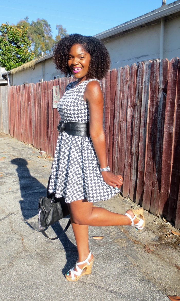 houndstooth dress, belt at waist