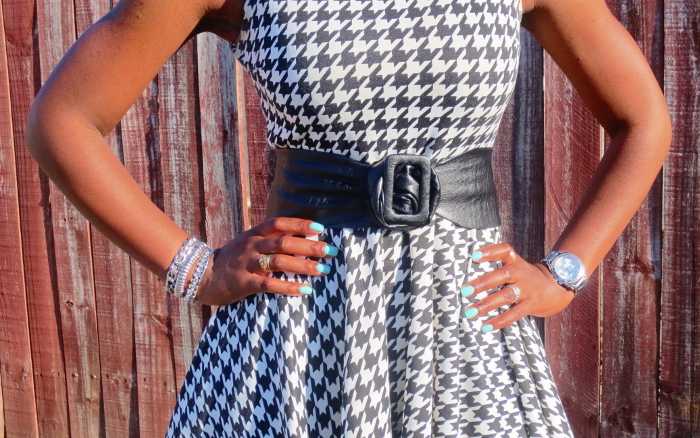 houndstooth dress, leather waist belt