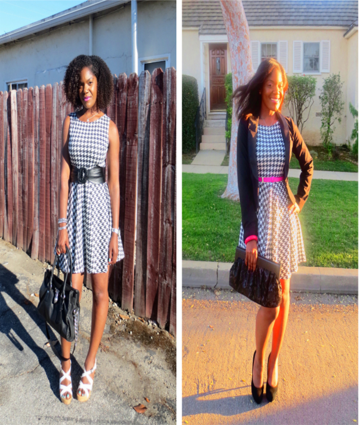 houndstooth dress, asos, michael kors bag