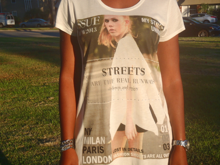 zara graphic tee, magazine layout tee shirt