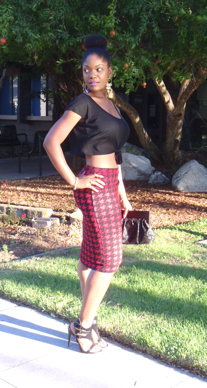 houndstooth pencil skirt with crop top