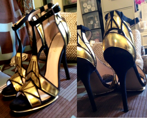 black & gold heels, boutique 9, nine west