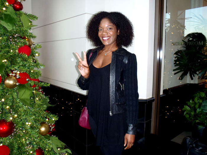christmas shopping, leather jacket, natural hair, black bloggers