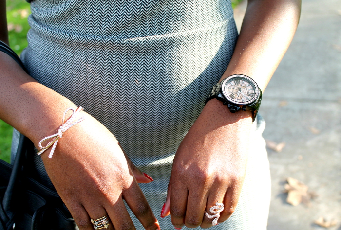Chevron dress - Kate spade bow bracelet - michael kors pave crystal rose gold watch