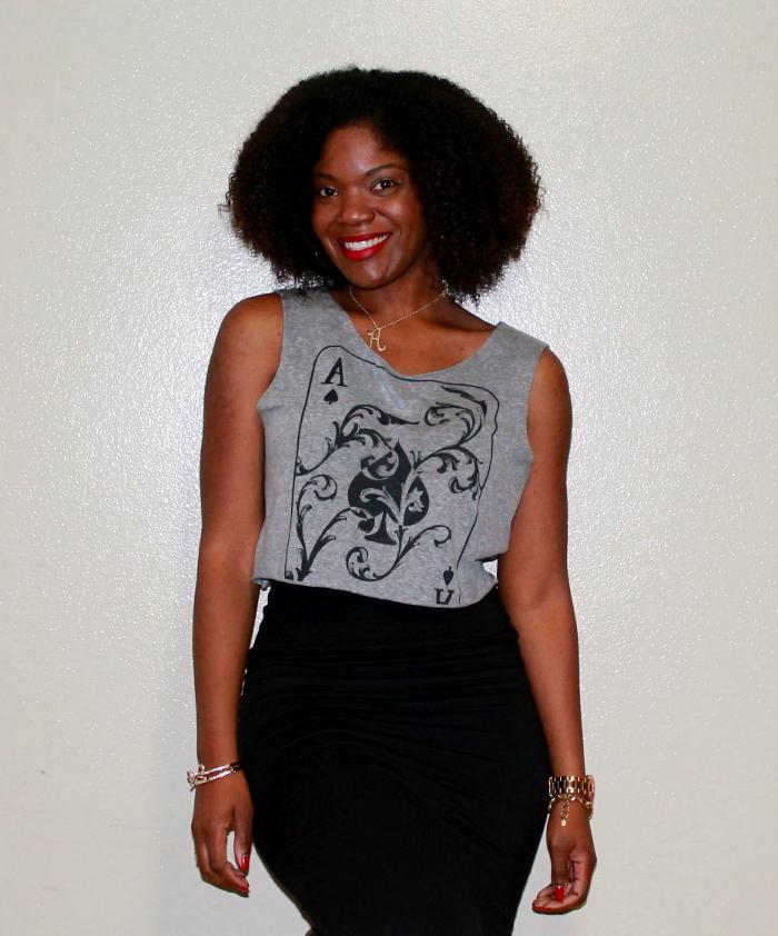 crop top,black pencil skirt,mac ruby woo,natural hair