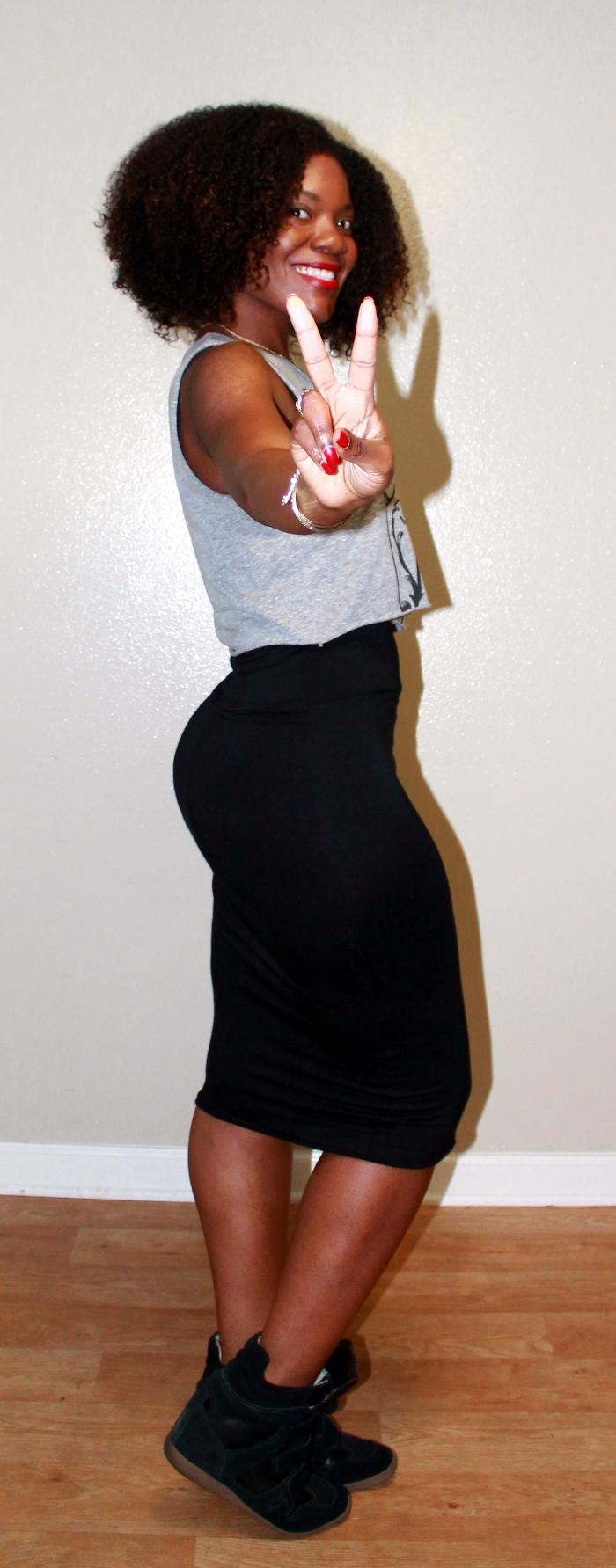 wedge sneakers,pencil skirt,natural hair, mac ruby woo,