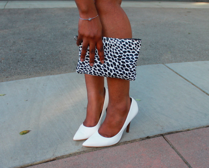black & white clutch - white guess pumps