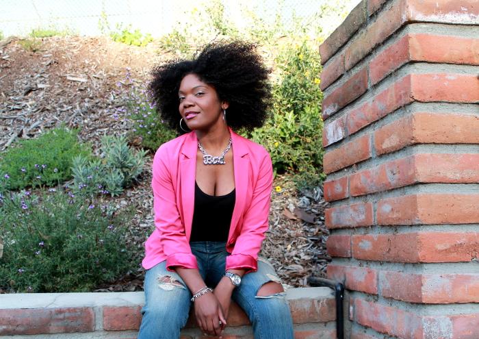 pink blazer-boyfriend jeans-crop top--bad necklace-natural hair 3