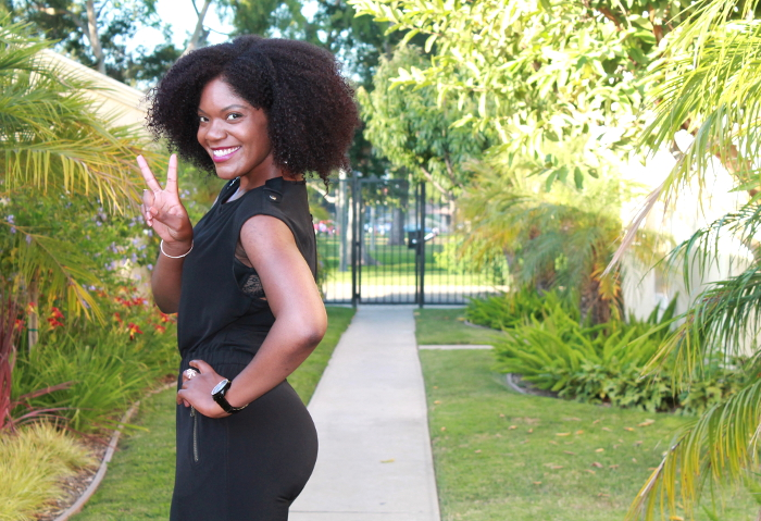 black jumpsuit, natural hairstyles